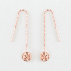 Hammered Disc Thread Earrings - Rose Gold