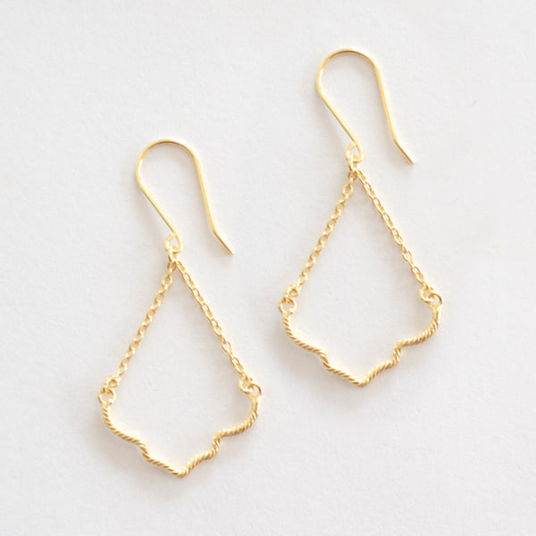 Hanging Ogee Earrings - Gold