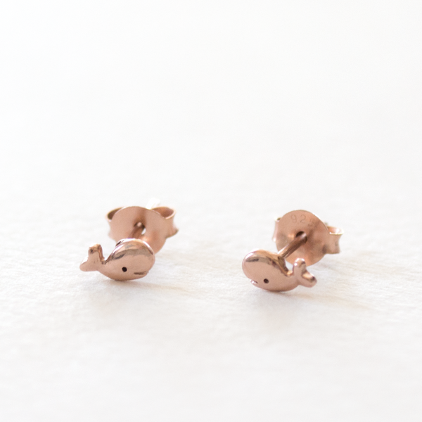 Little - Whale Studs - Rose Gold