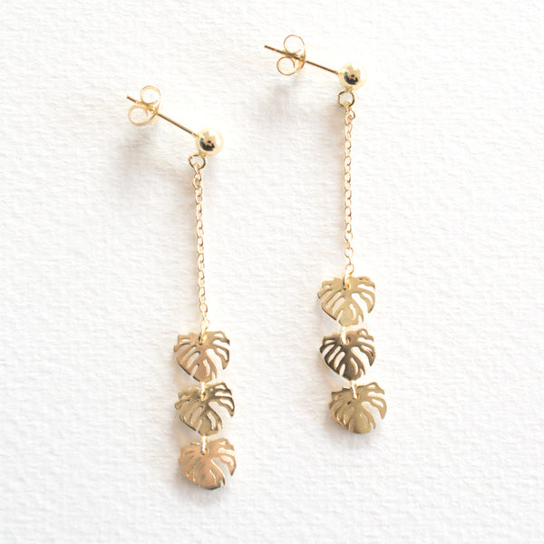 Monstera Drop Earrings - Gold