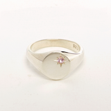 Sterling Silver Signet Ring with Pink Tourmaline Star Setting