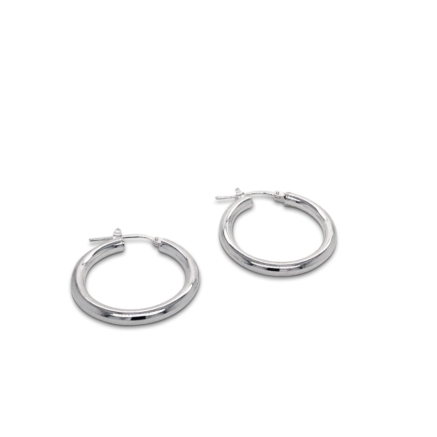Medium Plain Hoop Earrings Sterling Silver