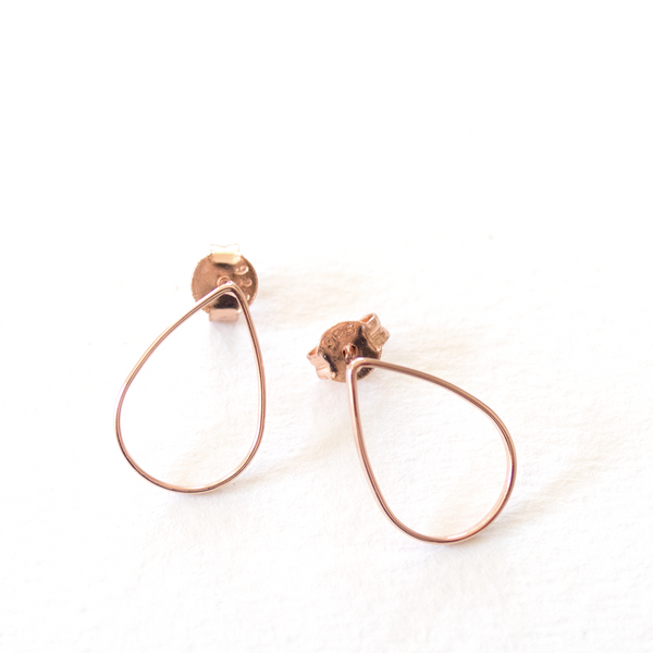Tear Drop Outline Studs - Rose Gold