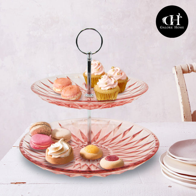 Tiered Pink Cake Stand Serving Tray