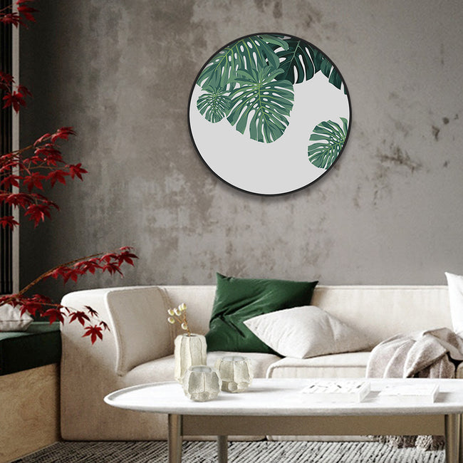 Circular (Round) Wall Art / Wall Decor - Monstera Leaf