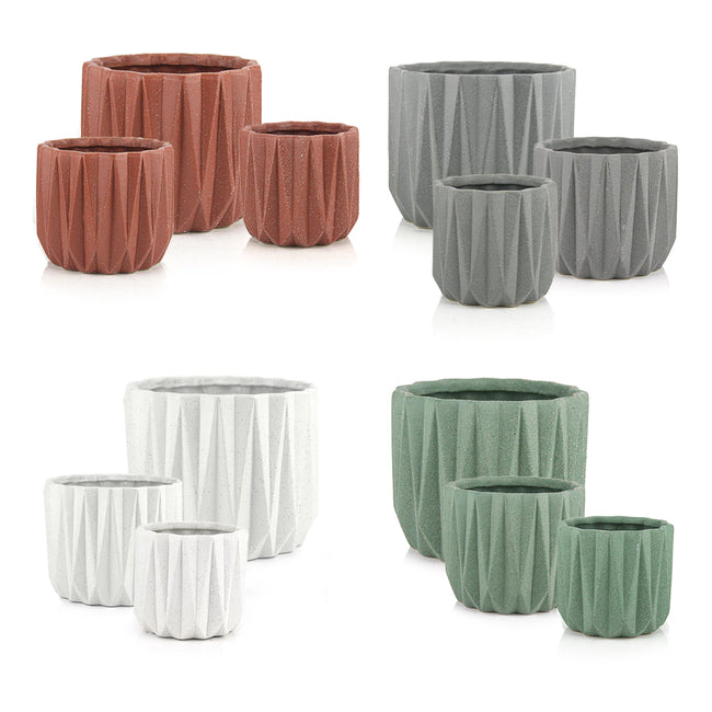 Geometric Ceramic Pot Set