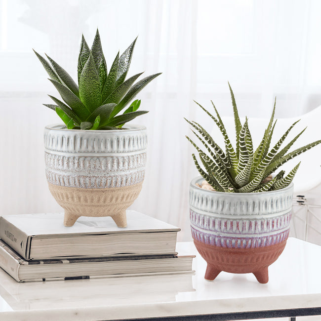Bohemian Ceramic Pot & Planter Set