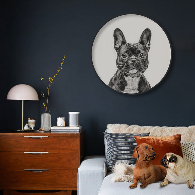 Circular (Round) Wall Art / Wall Decor - French Bulldog