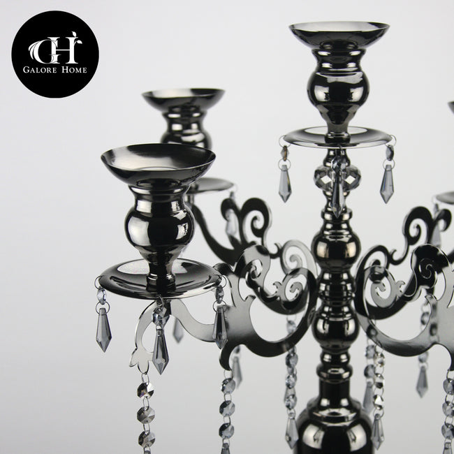 "40"" Pearlized Black Crystal Candelabra Candle Holder"