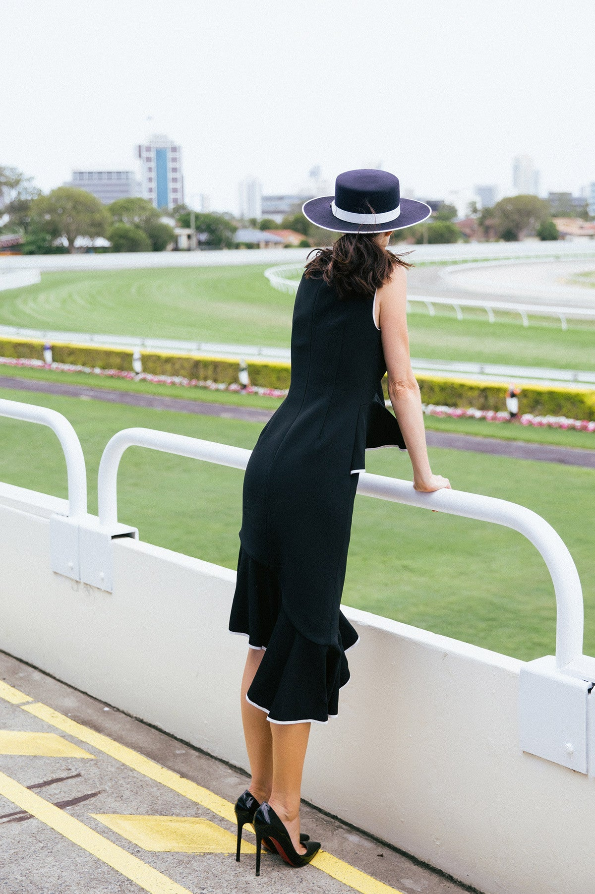 Thinking Out Loud Midi Dress Royal Randwick Sydney Autumn Racing Carnival Monochrome