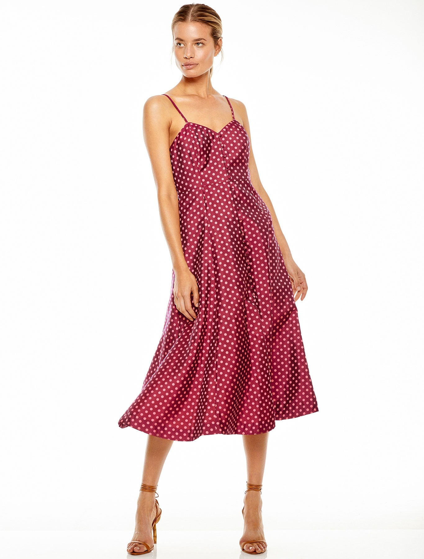 PLAYFUL POLKA MIDI DRESS