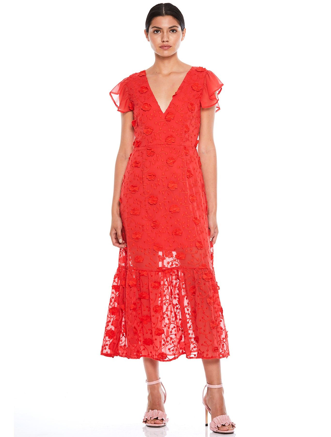 SCARLETT RUFFLE MIDI DRESS