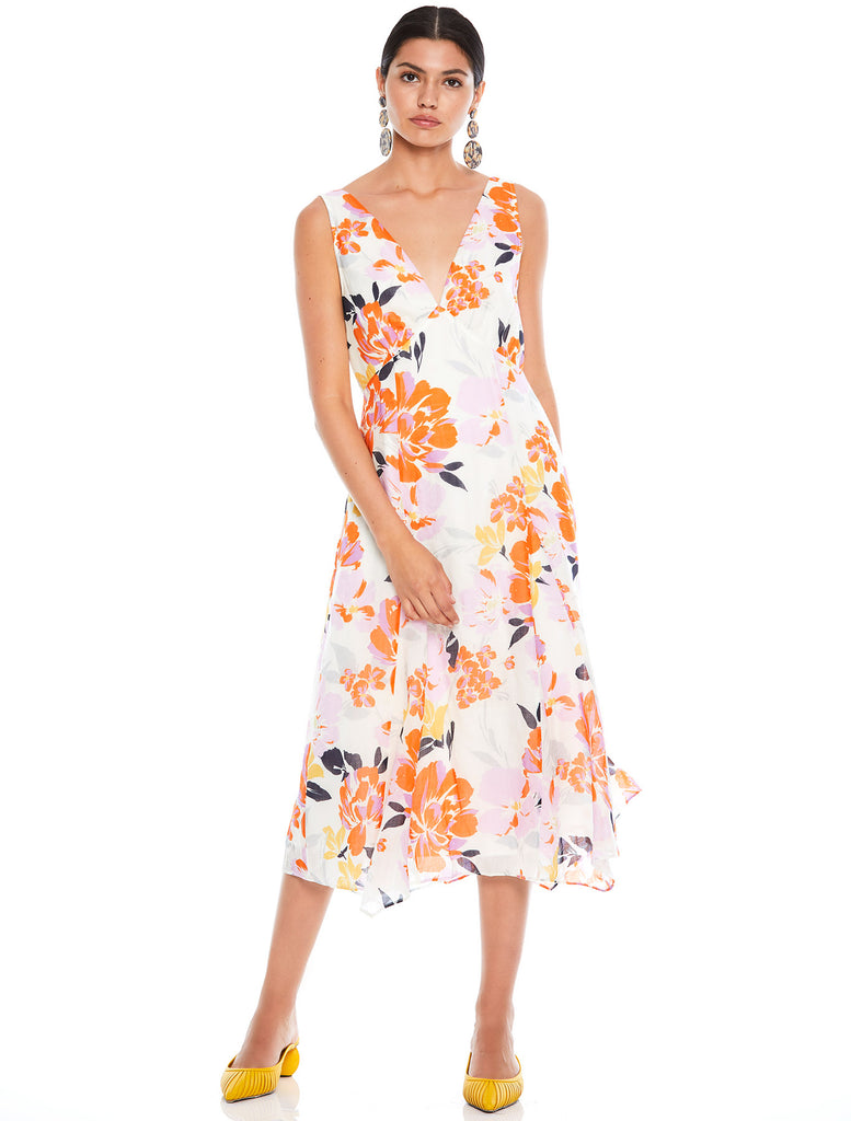 EFFERVESCENT FLORAL DRAPE MIDI DRESS