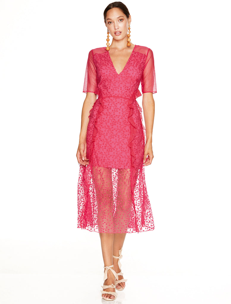 FUCHSIA DELIGHT MIDI DRESS