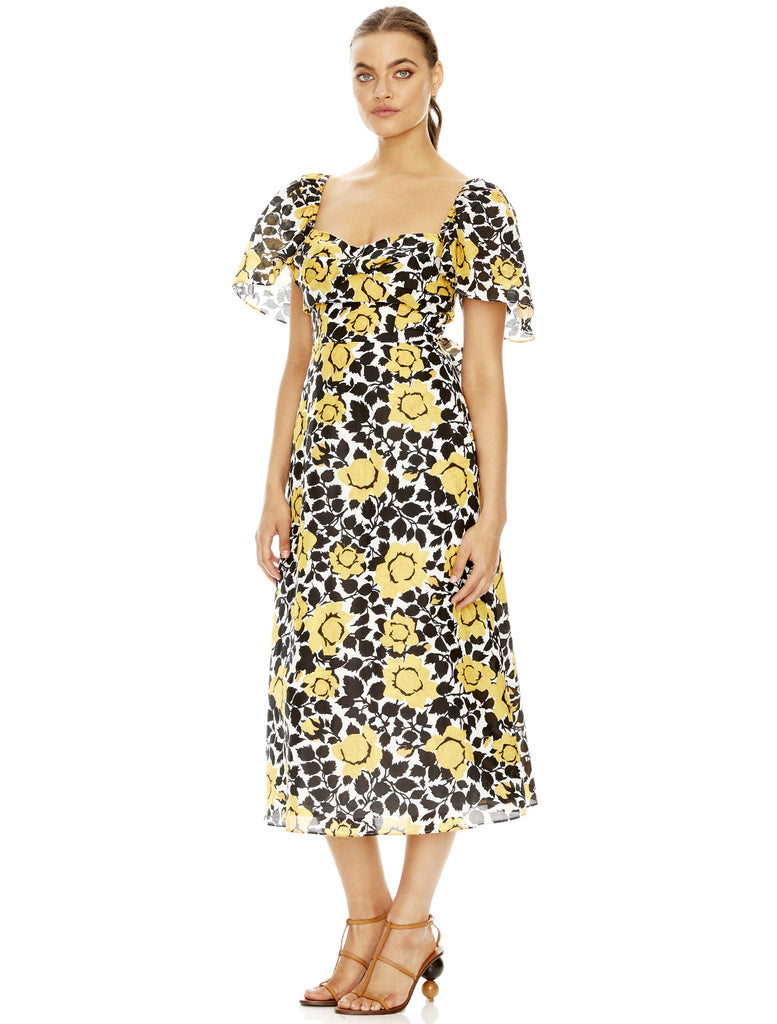 FIELDS OF GOLD MIDI DRESS