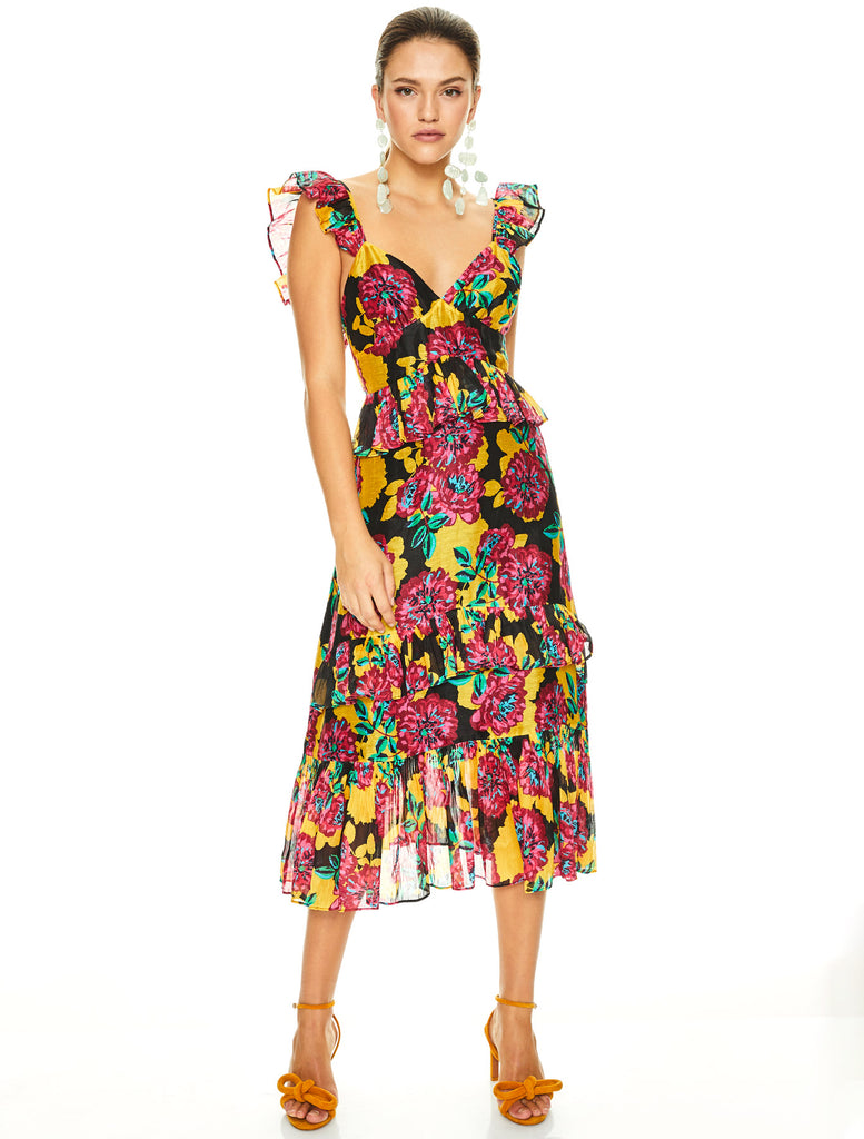 BARCELONA BLOOM MIDI DRESS
