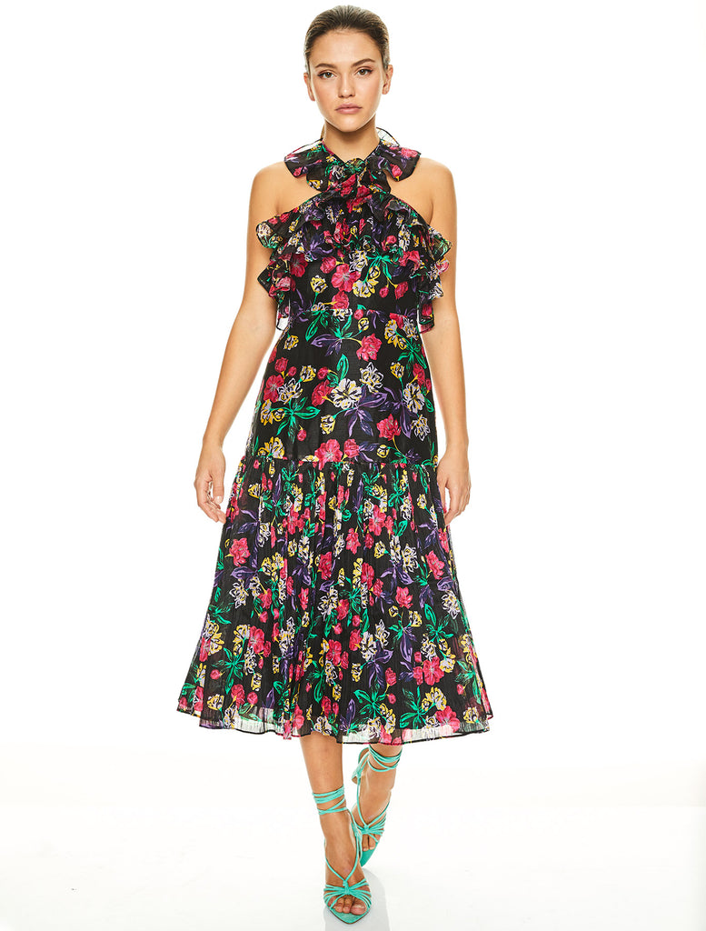 SUNDOWN SALSA MIDI DRESS