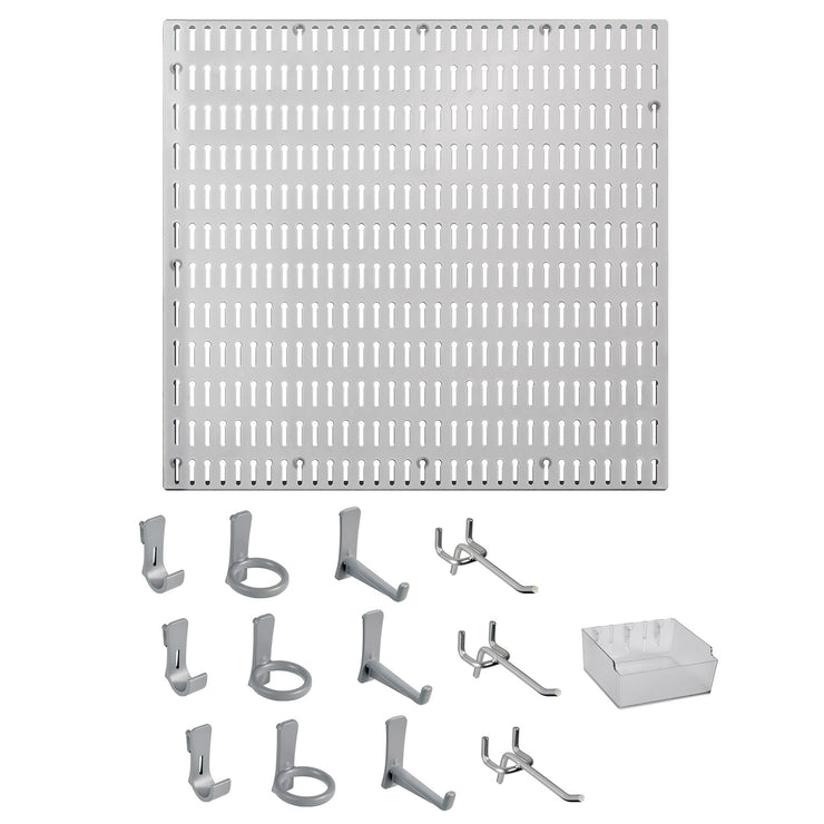 14 Pc. Garage Organizer Wall Storage System with Pegboard, Hooks and Hangers