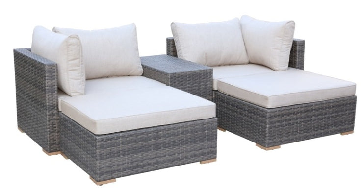 5 Piece All-Weather Patio Furniture Set, Sunbrella UV Fabric (Gray/Blue)
