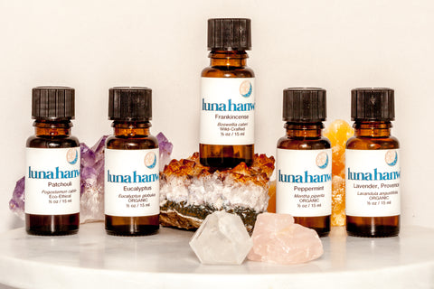 Patchouli, Eucalyptus, Frankincense, Peppermint, and Lavender Essential Oils