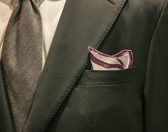 BELANCĒ | White Silk Pocket Square with Purple Border