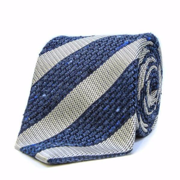 Light Blue and Grey Stripe Grenadine Silk Tie by Tommy Rough