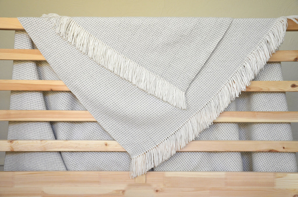 Basketweave Throw in Cloud
