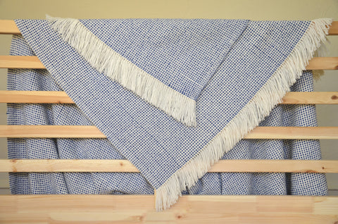Basketweave Throw in Navy