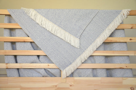Basketweave Throw in Slate