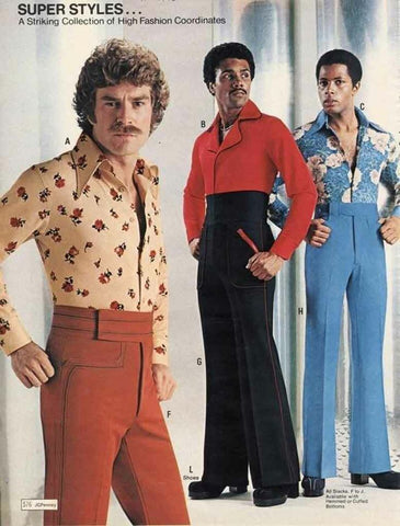 1970 men's fashion - 3 men with flower shirts