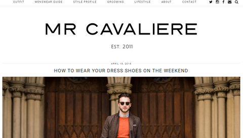 Screenshot of Mr Caveliere blog