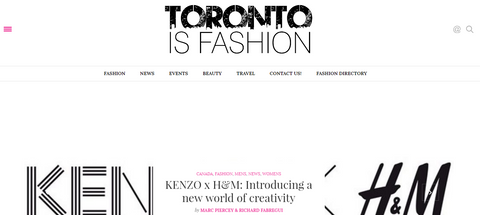 Toronto is Fashion website screenshot