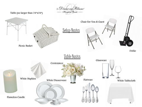 Image with what to bring to diner en blanc