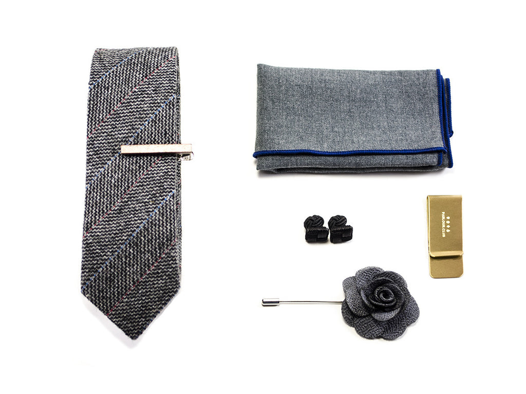 "matched men's accessories - Blue Tie, Bow tie, pocket square, cuff links, money clip - model ""on a rush II"""