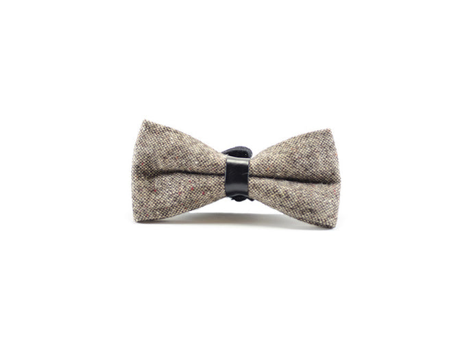 Brown Wool Bow Tie on white background| Parlour.Club