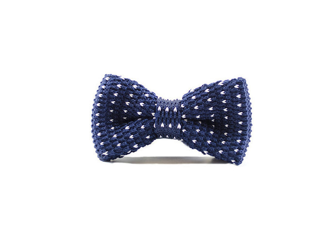 Marine Blue & white dots Knitted Bow Tie on white background| Parlour.Club