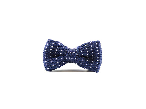 Blue and white dots - Knitted Bow Tie