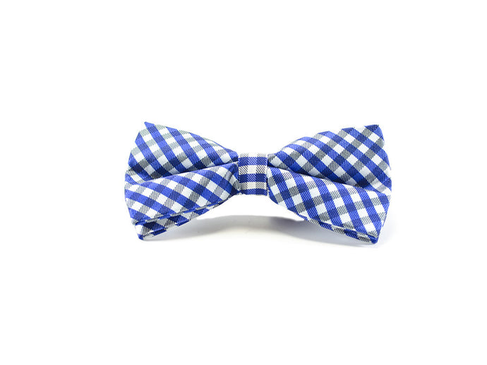 Clear Blue Checker Bow Tie on white background| Parlour.Club