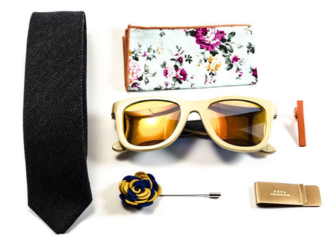 Matched men's accessories - sunglasses , pocket square, tie - Model Fox Hunt - parlour.club