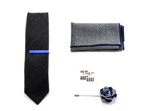 matched men's accessories - Blue Tie, pocket square, cuff links, lapel pin