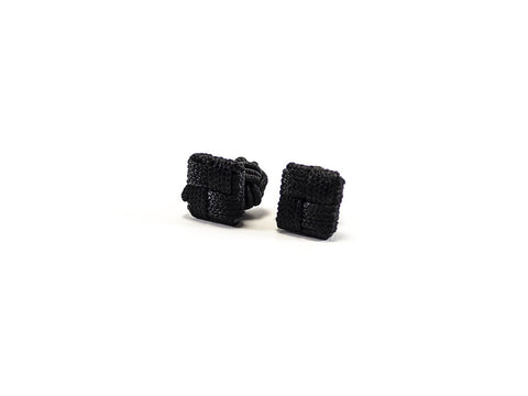 Cufflinks Black square - woven nylon - Parlour.Club