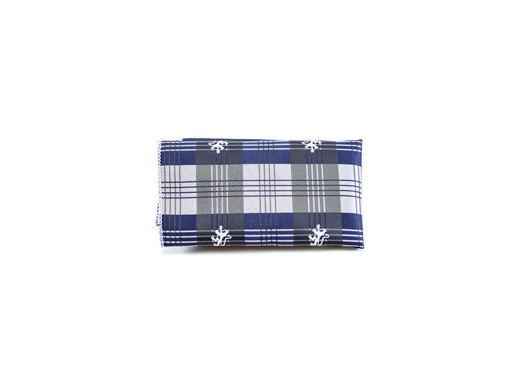 Pocket Square Blue Burberry pattern | Parlour.Club