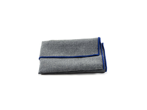 Pocket square, grey with blue trim - parlour.club