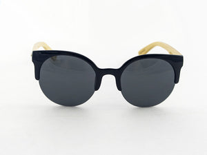 Romy Wave Bamboo Sunglasses front | Parlour.Club