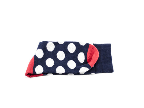 Polka dots socks - Blue & white dots- red heel