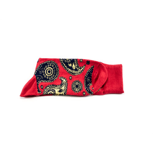 Dealer Percentage – Red paisley socks