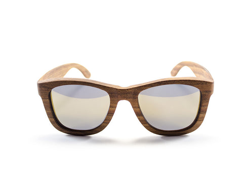Wood Sunglasses face view - model Big Slick - parlour.club