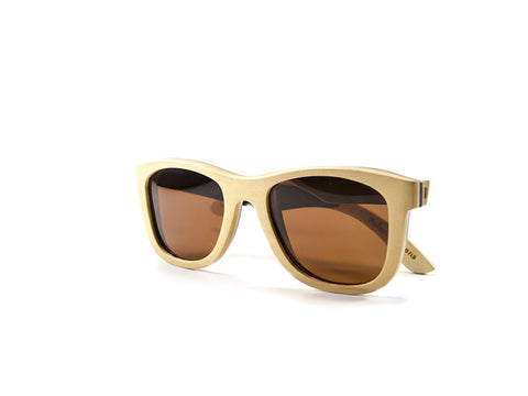 Natural Skateboard Wood Sunglasses side view folded - model Satellite - parlour.club