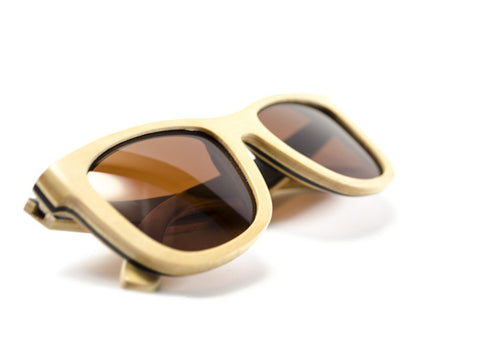 Natural Skateboard Wood Sunglasses folded view - model Satellite - parlour.club
