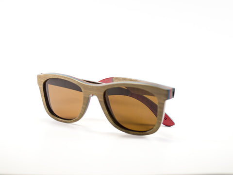 Brown Skateboard Wood Sunglasses side view folded - model Zombie - parlour.club